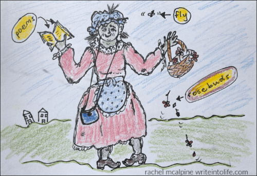 cartoon of old woman in mock-vintage clothes holding a book of poems and a basket of rosebuds