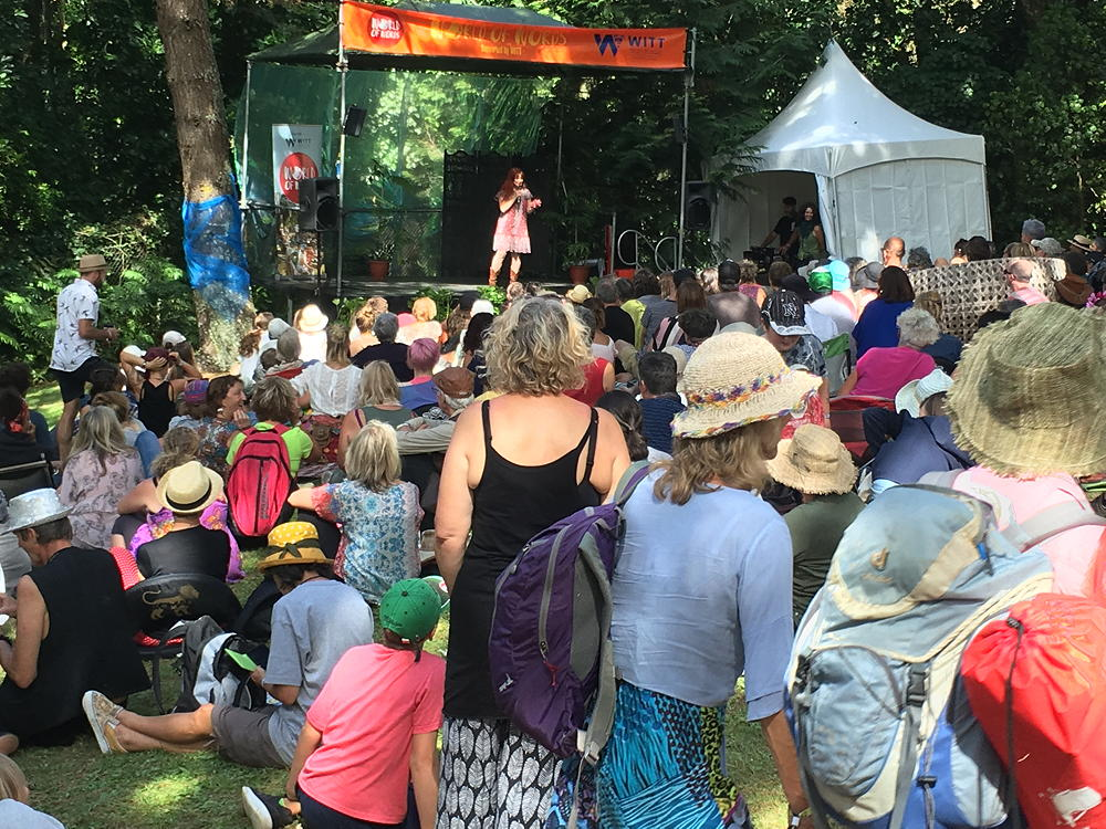 NZ WOMAD 2018 Poetry Slam. Open air venue, nice big crowd in the sun.