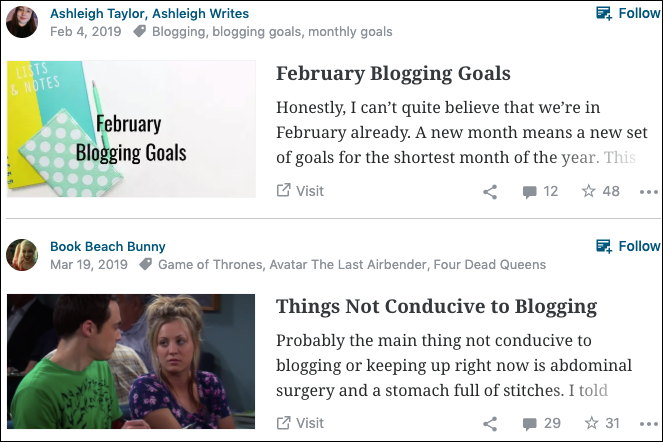 First blog: Ashleigh Writes. February Blogging Goals. Honestly, I can't quite believe that we're in February already. A new month means a new set of goals for the shortest month of the year. This... Second blog: Book Beach Bunny. Things Not Conducive to Blogging. Probably the main thing not conducive to blogging or keeping up right now is abdominal surgery and a stomach full of stitches. I told... --