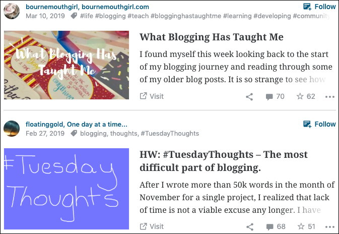First blog: Bournemouthgirl. What Blogging Has Taught Me. I found myself this week looking back to the start of my blogging journey and reading through some of my older blog posts. It is so strange to see how... Second blog. One day at a time... HW: #TuesdayThoughts — The most difficult part of blogging. After I wrote more than 50K words in the month of November for a single project, I realised that lack of time is not a viable excuse any longer. I have...