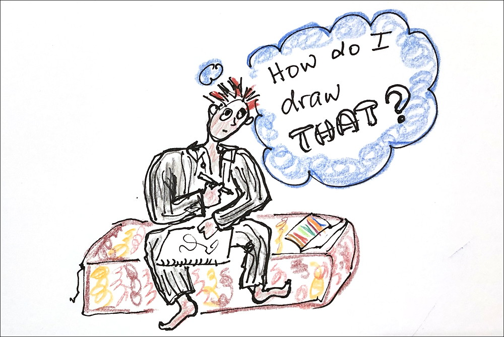 Cartoon: woman in pyjamas drawing. She is thinking, How do I draw THAT?