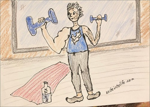 Cartoon of lopsided old woman training with hand weights.