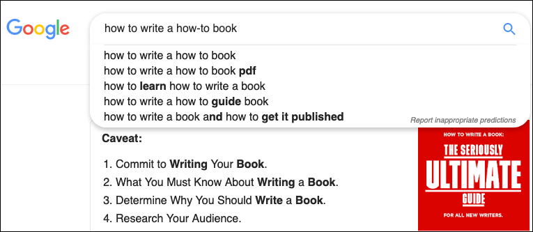Screenshot of Googe results: how to write a how-to book