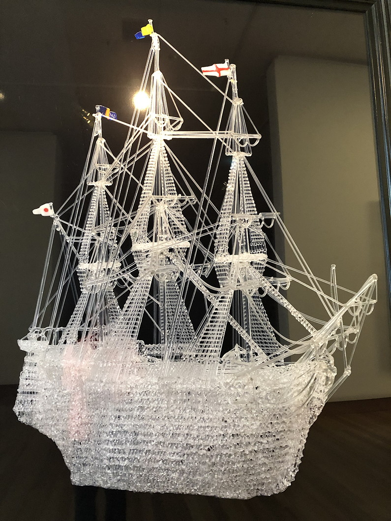 1950 glass model of the sailing ship Charlotte Jane in the Canterbury Museum, Christchurch. Careless amateur snapshot by retiree Rachel McAlpine.