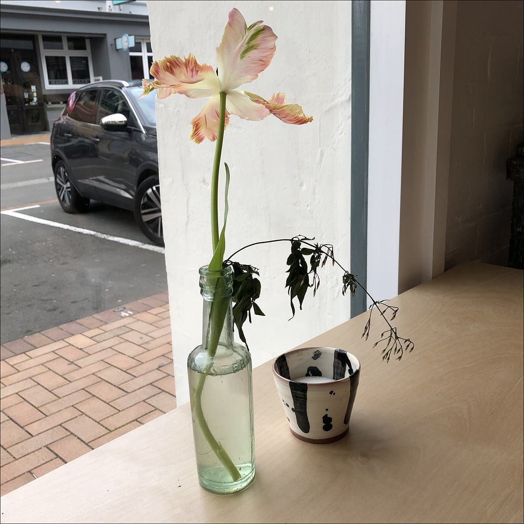 Fading tulip in a vase