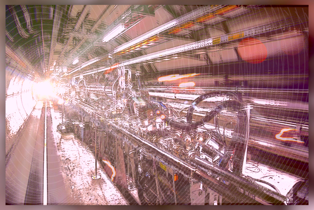 Red-toned photo of the Hadron Collider interior