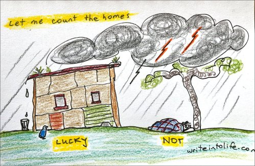 A small shack (LUCKY) and a person sleeping rough under a tree in a storm (NOT). Let me count the homes.