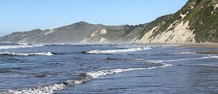Sea and hills near Gisborne, New Zealand