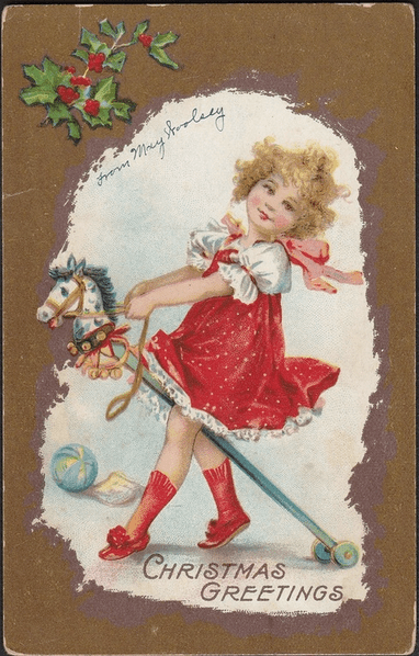 Cute little girl on wooden hobby horse drawn on a vintage Christmas card. No known owner, obsolete eBay sample