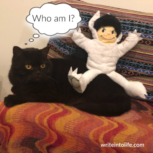Cat surprised to find Max from Where the Wild Things Are sitting on her back. Thinks, Who am I?