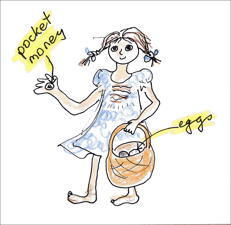 Drawing of a barefoot girl with pocket money in one hand and a basket of eggs in the other