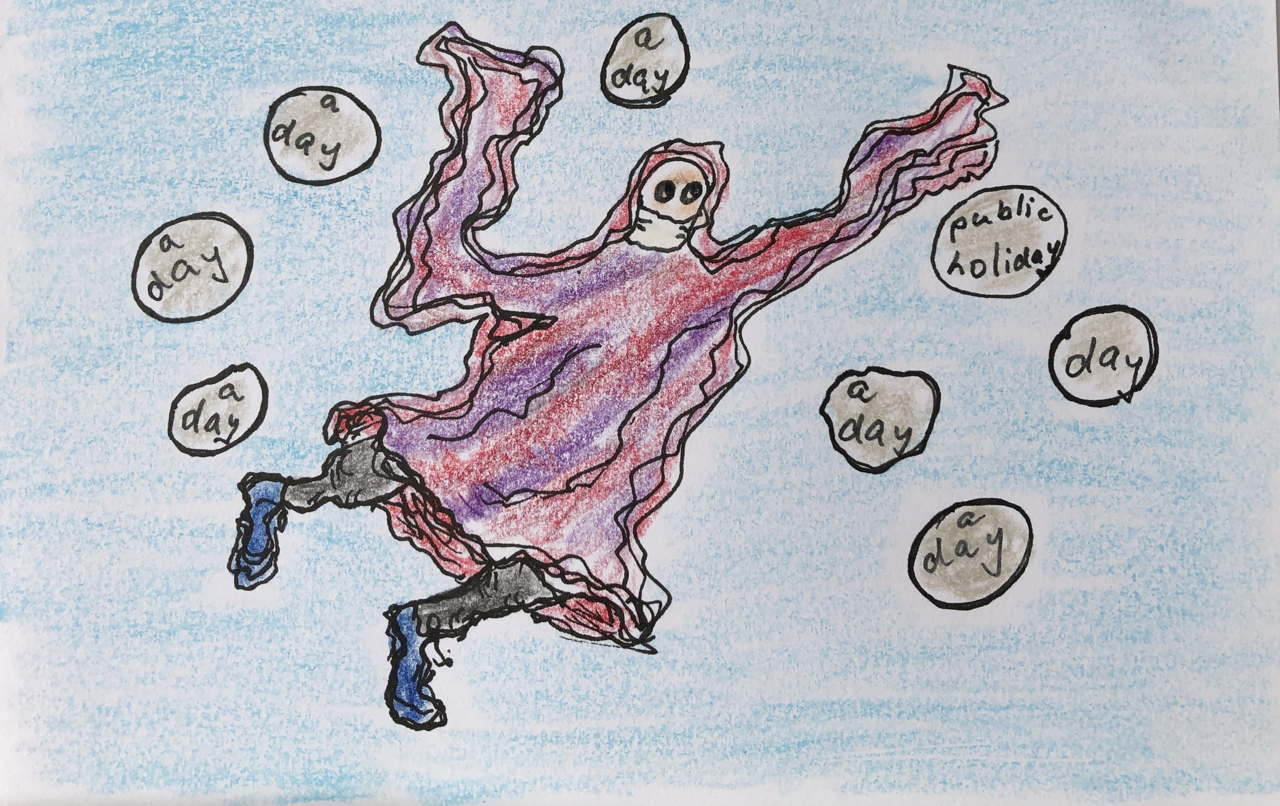 "drawing of ghostly women among many bubbles saying ""a day"" and one saying ""public holiday"""