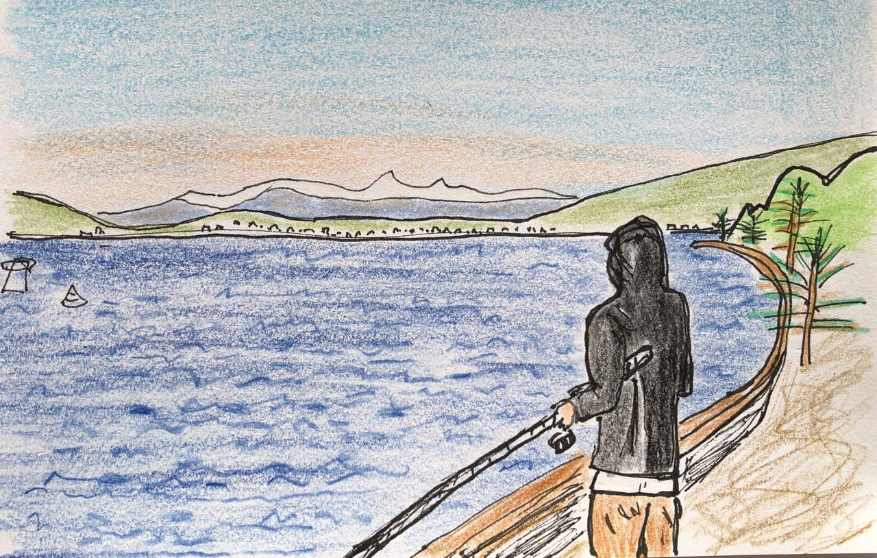 Drawing of man fishing in Wellington Harbour with snowy mountains in the background