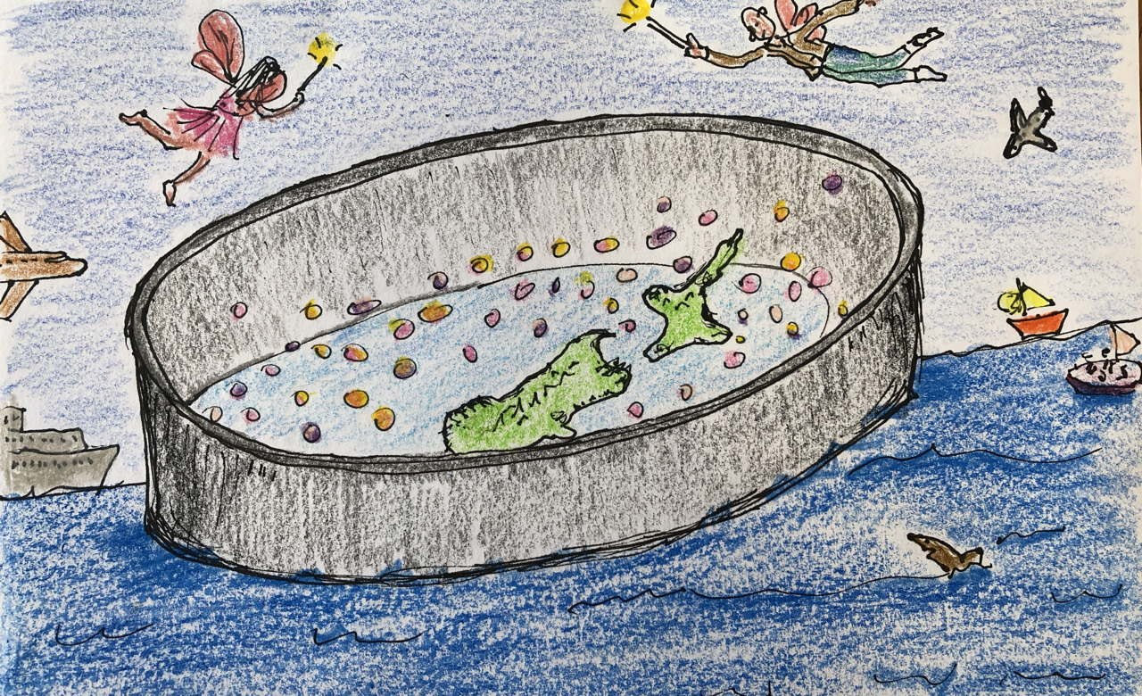 drawing of New Zealand in a floating container aurrounded by boats, plains, sharks and protective fairies