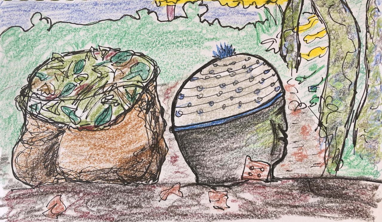 drawing of stone head and bag of garden rubbish, looking similar in profile