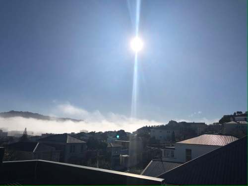 Photo. Sun hits my deck after solstice fog