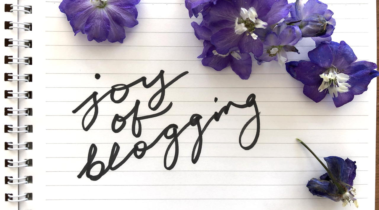 wilting delphinium flowers and words: joy of blogging