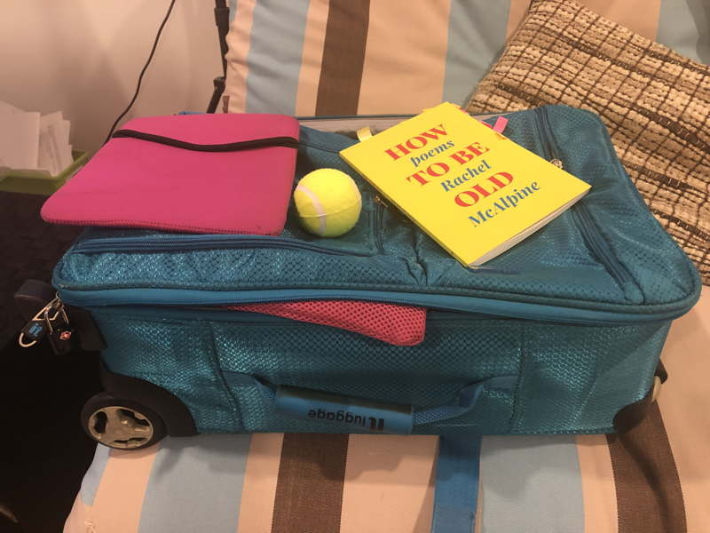 Cabin bag, tennis ball, book HOw To Be Old poems by Rachel McAlpine, and a pink iPad sleeve