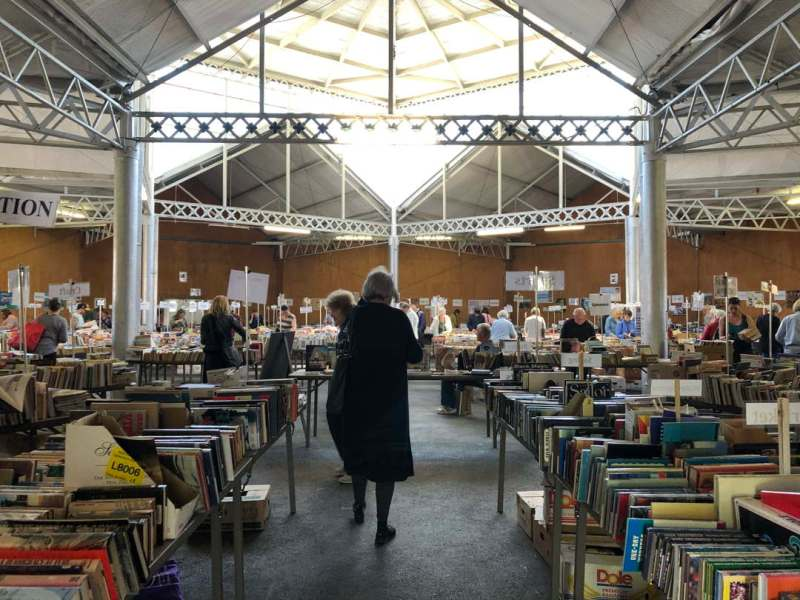 Rows of books at a second hand book sale
