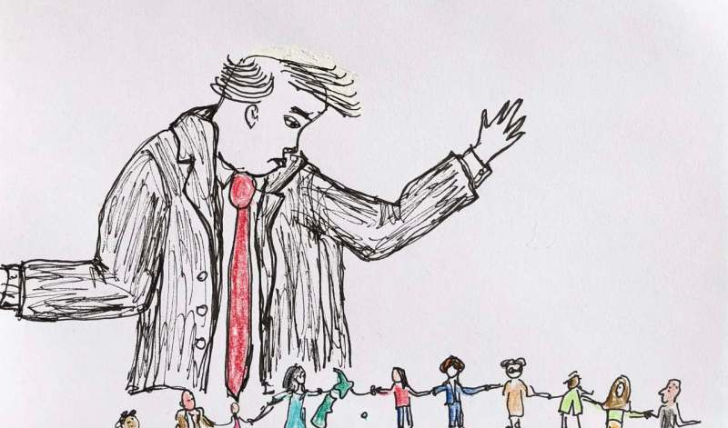 Cartoon: a huge Trump-like figure looms over a tiny New Zealand holding hands with 10 small people