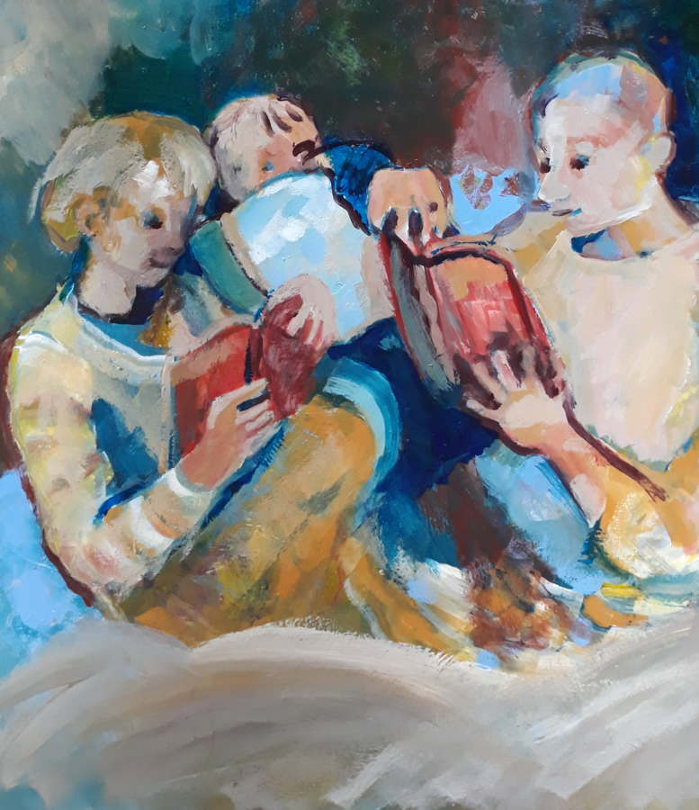 Joy of reading. Painting of children reading in a cosy huddle