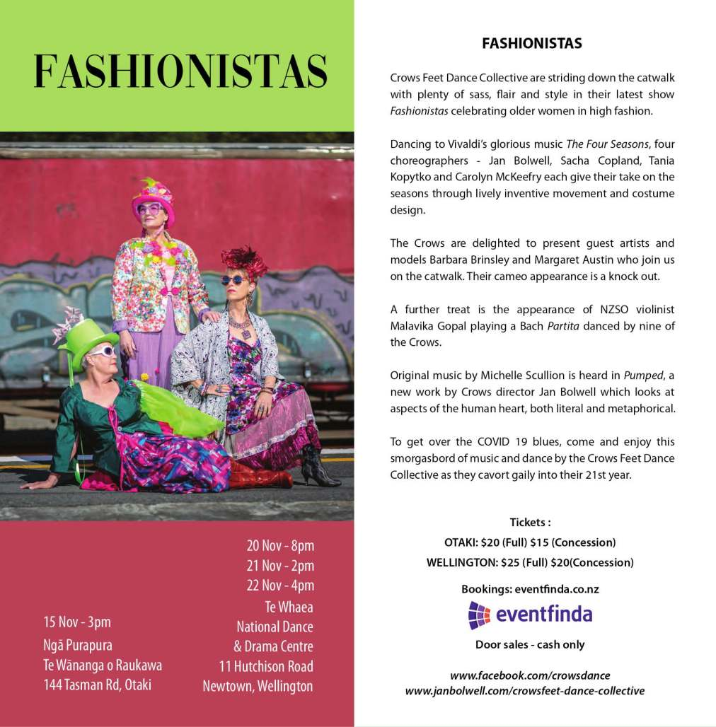 Flyer for Fashionistas, Crows Feet Dance Collective show, 15, 20, 21 and 22 November in Otaki and wellington.