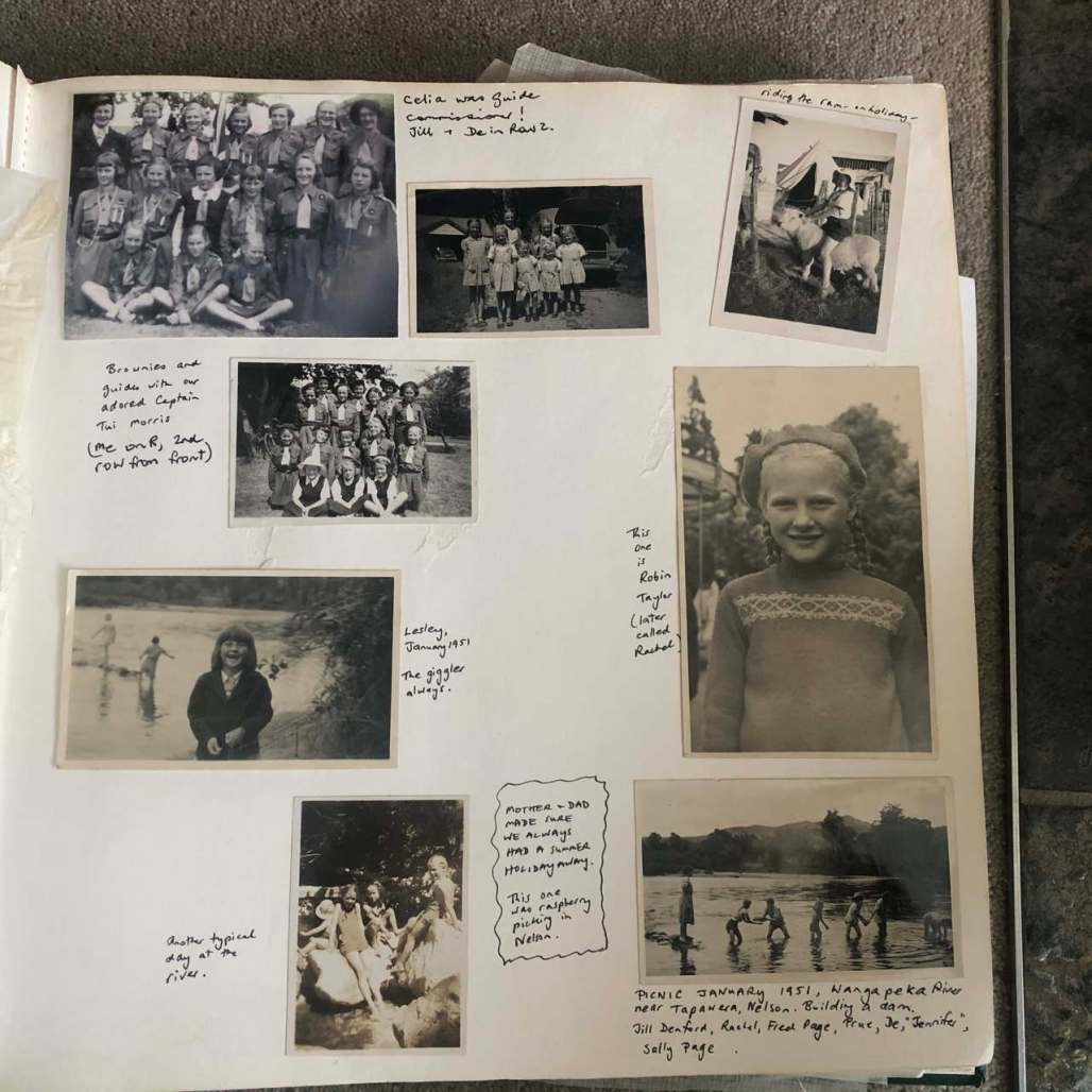 Page in an old family photo album.  Guides and Brownies, Rachel riding a ram, family playing in the river