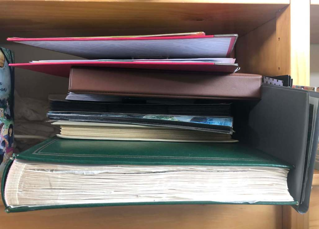 About 10 motley old photo albums in a jumble