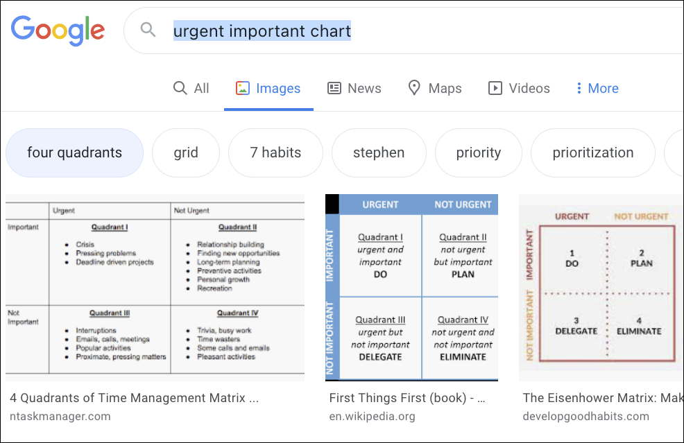 """screenshot of results page after googling """"urgent important chart"""". Keywords """"four quadrants"""" :grid"""" """"7 habits"""" """"priority"""" plus 3 examples."""