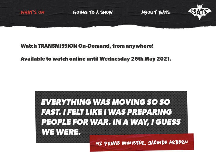 """Watch TRANSMISSION On-Demand, from anywhere! until Wednesday 26th May 2021. """"Everything was moving so so fast. I felt like I was preparing people for war. In a way, I guess we were."""" NZ Prime Minister, Jacinda Ardern"""