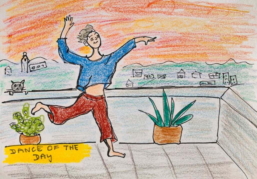 Cartoon of a woman dancing on her balcony