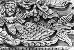 Wood carving of a mermaid, Volga region 19th century. Wikimedia.