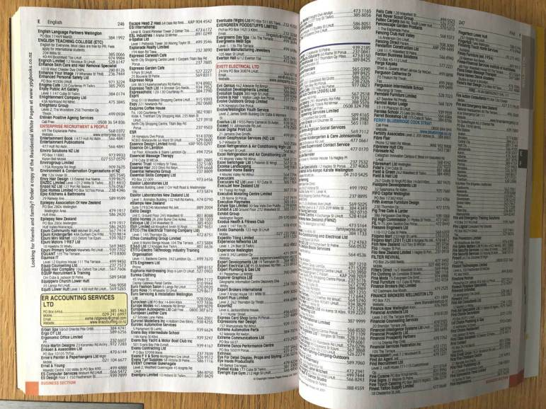 Two pages of a phone book with very small tight text.