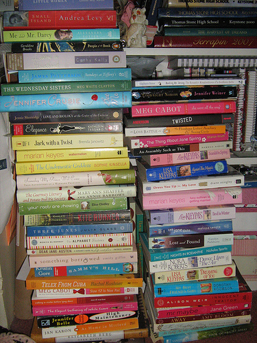 My TBR stack, circa February '09. It's now... bigger.