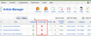 Joomla Article Manager Screen