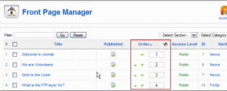 Joomla Front Page Manager Screen