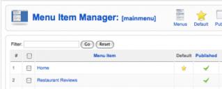 Joomla Menu Item Manager