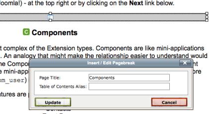 Joomla Insert Edit Pagebreak Screen