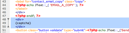 adding captcha code to beez contact form