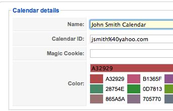 GCalendar Calendar Details Screen
