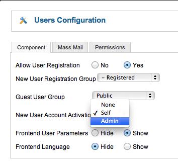 Joomla-user-configuration-screen