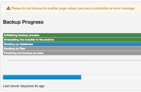 akeeba backup progress screen