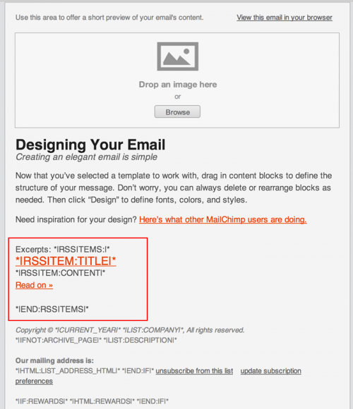 Mailchimp Template with RSS Item Feed