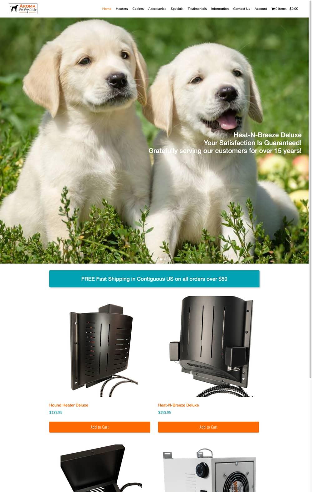 Akoma Pet Products WooCommerce Website