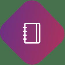 diamond with notebook icon