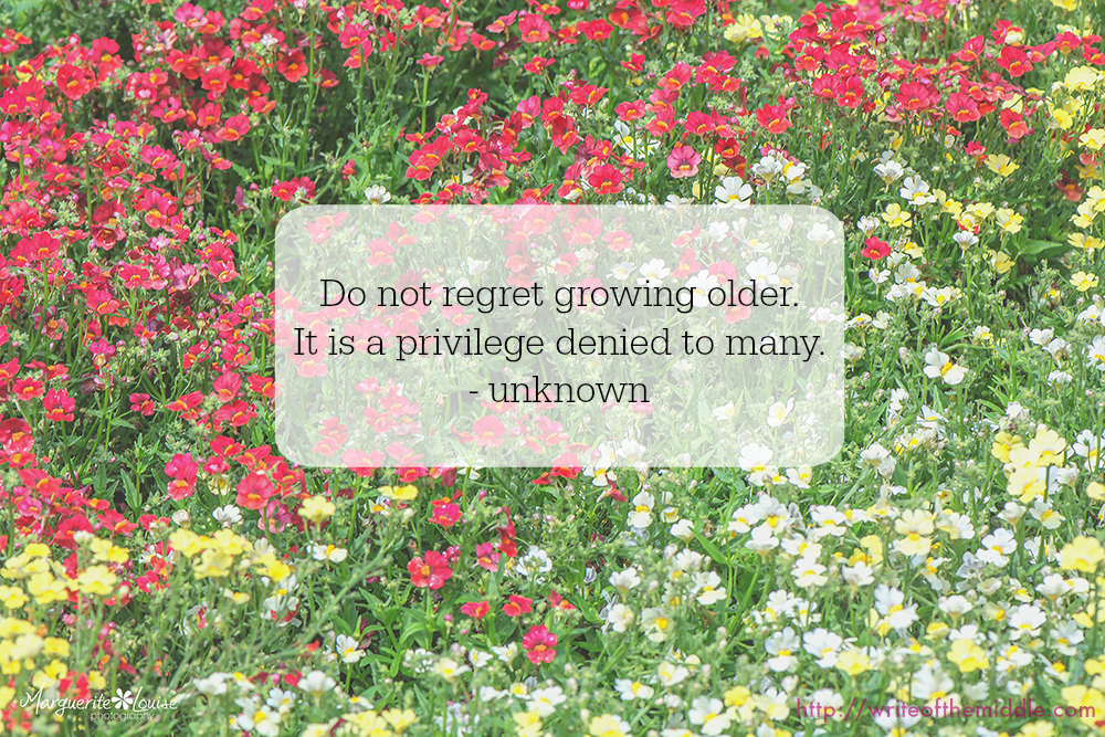 field of flowers, quote, do not regret growing older