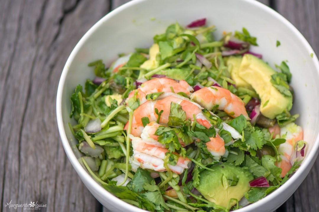 Prawn, Avocado, Watercress, Red Onion, Capers, Salad