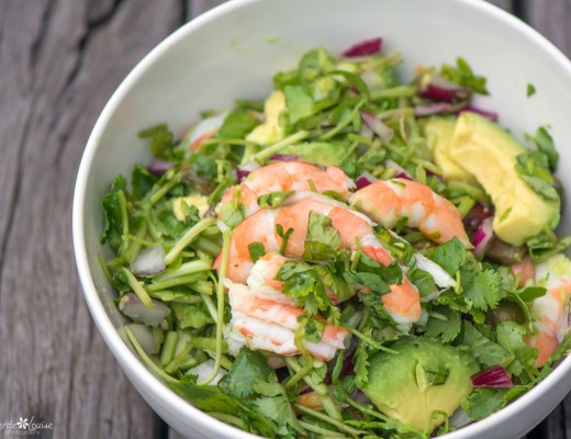 Prawn, Avocado, Watercress, Red Onion, Capers, Salad