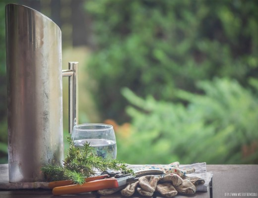 water jug, glass, gardening gloves