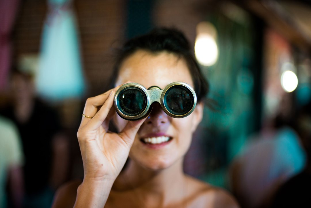 binoculars, seek, look, search, lady